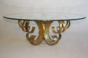 Gilt scroll metal and circular glass coffee table. Spanish c1960 - picture 3