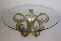 Gilt scroll metal and circular glass coffee table. Spanish c1960 - picture 4