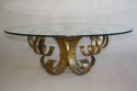 Gilt scroll metal and circular glass coffee table. Spanish c1960 - picture 5