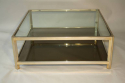 Square gilt metal coffee table - picture 1