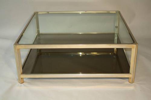 Square gilt metal coffee table