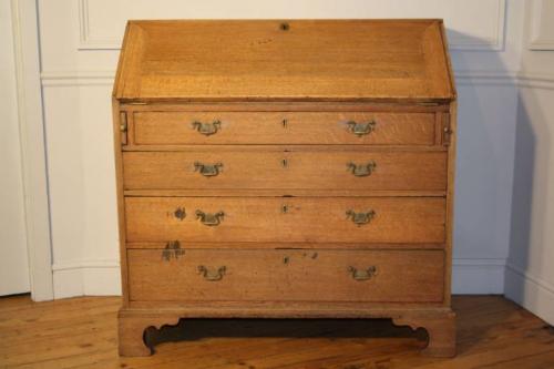 A large bleached Oak George III bureau