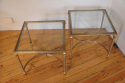 Pair of brushed steel and gold metal end tables, French C20th - picture 1
