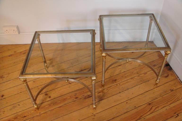 Pair of brushed steel and gold metal end tables, French C20th