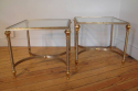 Pair of brushed steel and gold metal end tables, French C20th - picture 2