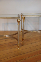 Pair of brushed steel and gold metal end tables, French C20th - picture 3