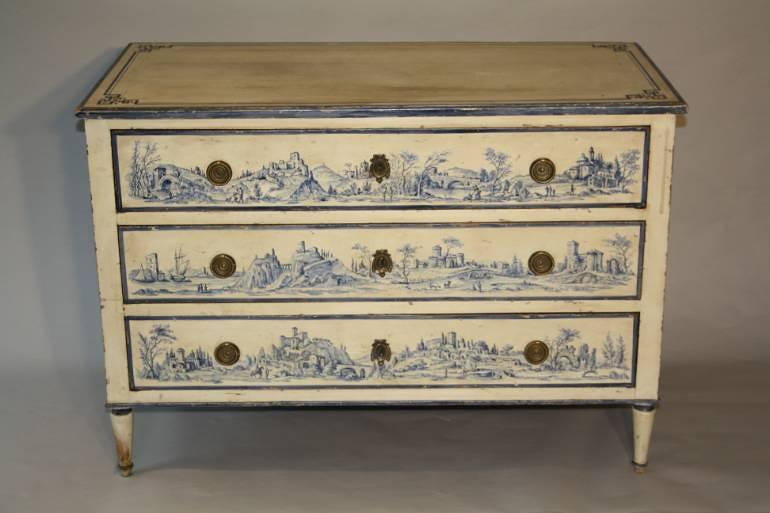 Antique C19th Italian commode with painted scenes