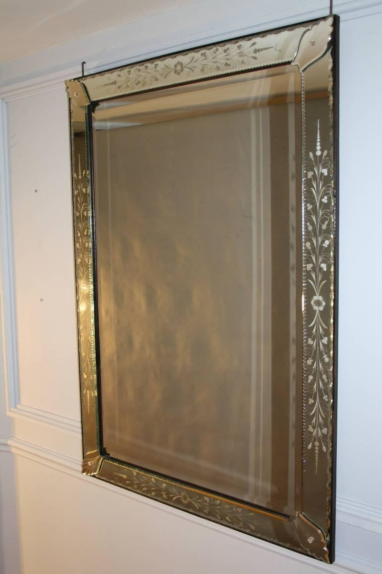 French Venetian mirror with etched floral detail, c1950