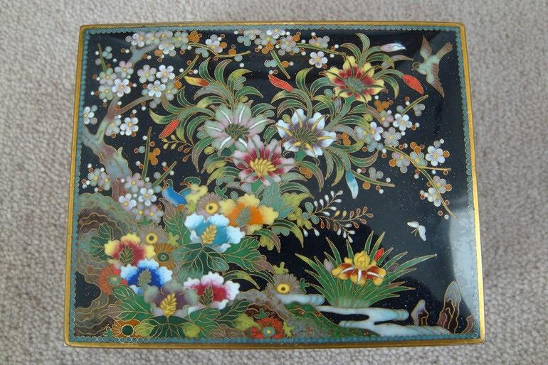 Cloisonne box with floral and bird decoration, c1920