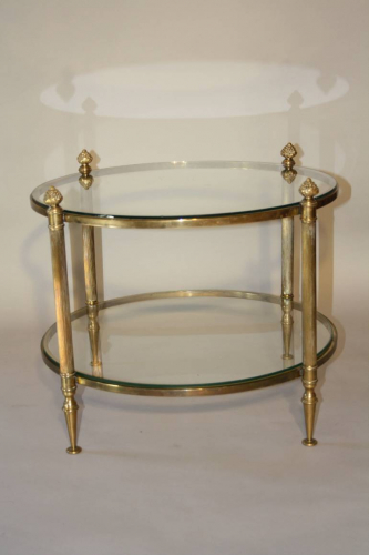 French 1950`s circular two tier side table