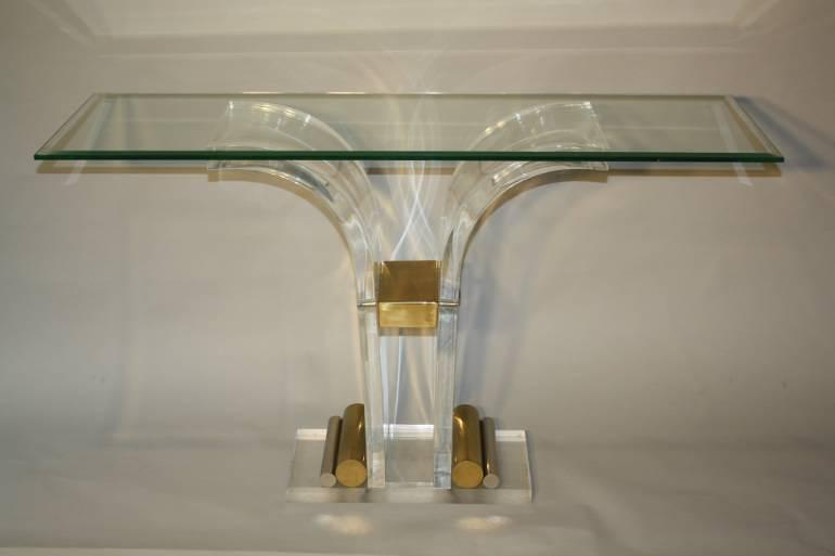Lucite and glass console