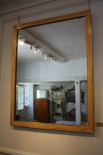 C19th Gilt wood reeded mirror