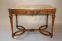 French Antique Carved Walnut Centre Table with Marble inset, c1900 - picture 1