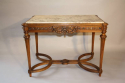 French Antique Carved Walnut Centre Table with Marble inset, c1900 - picture 7