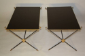 A pair of black vitrolite, crossed arrow 1950`s French end tables. - picture 1