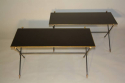 A pair of black vitrolite, crossed arrow 1950`s French end tables. - picture 2
