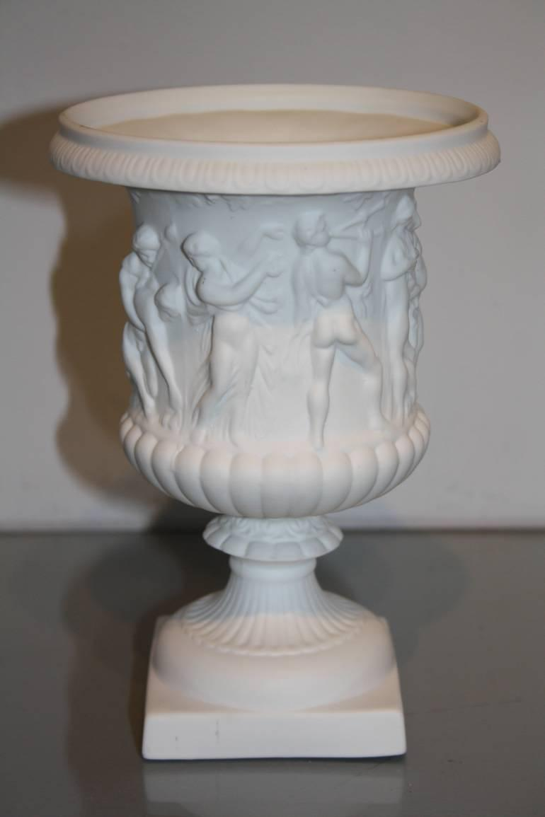 Antique white porcelain Limoges biscuit ware vase