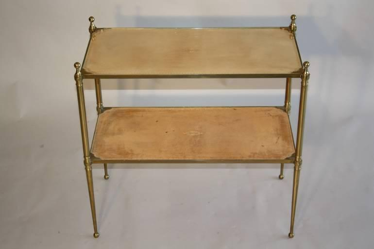 Leather two tier side table, French c1950