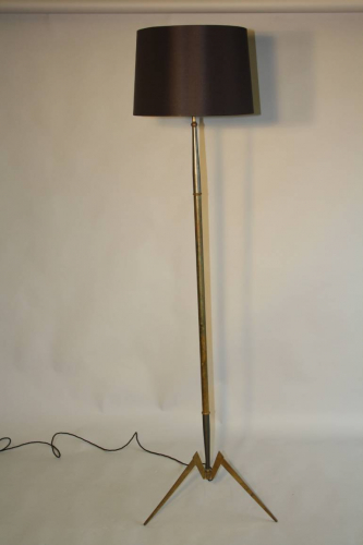 French 1950`s grey and brass metal floor lamp