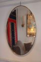 Simple and elegant oval gold metal banded bevelled glass mirror, Italian c1950 - picture 1