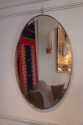 Simple and elegant oval gold metal banded bevelled glass mirror, Italian c1950 - picture 3