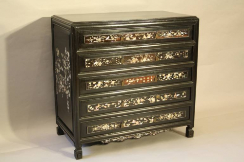 Ebonised and mother of pearl drawers