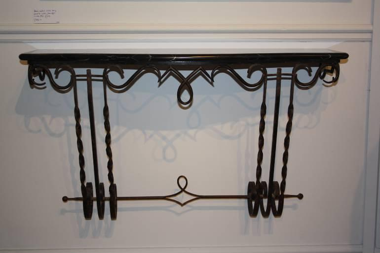 Metal wall console with black and white veined marble top, French c1950