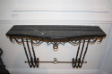 Metal wall console with black and white veined marble top, French c1950 - picture 2