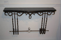 Metal wall console with black and white veined marble top, French c1950 - picture 3