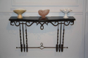 Metal wall console with black and white veined marble top, French c1950 - picture 4