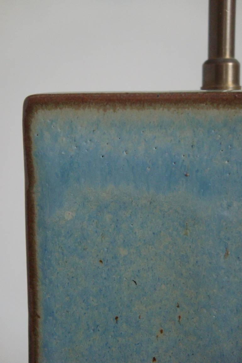 Pale blue/green glaze pottery table lamp. French c1950