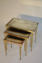 Brass and mirror nest of tables, French c1960 - picture 1