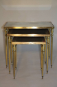 Brass and mirror nest of tables, French c1960 - picture 4