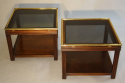 A pair of brass and wood two tier side tables by Valenti, Spanish c1970 - picture 1