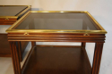 A pair of brass and wood two tier side tables by Valenti, Spanish c1970 - picture 2