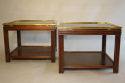 A pair of brass and wood two tier side tables by Valenti, Spanish c1970 - picture 3