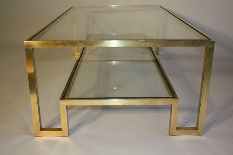 Pale gold metal two tier coffee table, Italian c1970