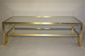 Pale gold metal two tier coffee table, Italian c1970 - picture 2