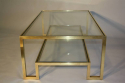Pale gold metal two tier coffee table, Italian c1970 - picture 3