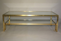 Pale gold metal two tier coffee table, Italian c1970 - picture 5