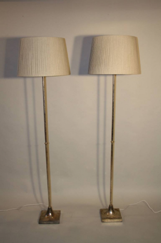 A pair of silver floor lamps by Valenti, Spanish c1950