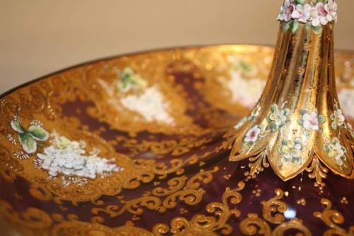 19thC Venetian burgundy glass, gold and enamel bon bon dish