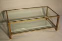 Pale gold metal two tier coffee table - picture 1