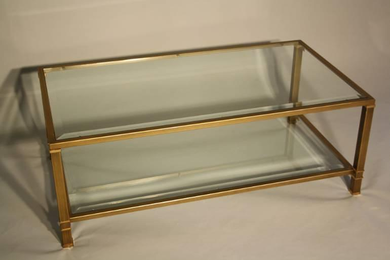 Pale gold metal two tier coffee table