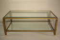 Pale gold metal two tier coffee table - picture 2