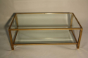 Pale gold metal two tier coffee table - picture 4