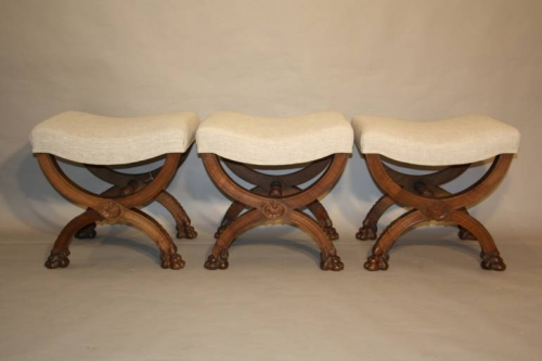 Three carved wood Lion feet stools