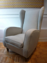 Pair of good sized Italian 1950`s wing chairs with stylised Lilly flower feet - picture 1