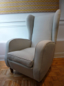 Pair of good sized Italian 1950`s wing chairs with stylised Lilly flower feet - picture 2