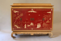 A pagoda Oak cabinet with carved doors depicting Chinese scenes, French c1940 - picture 1
